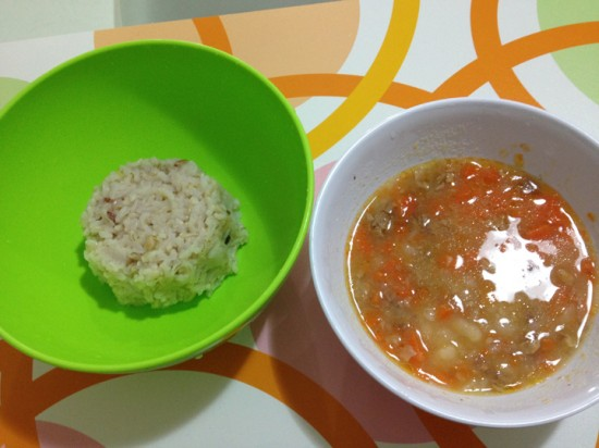 Alphabet Beef Soup with brown rice
