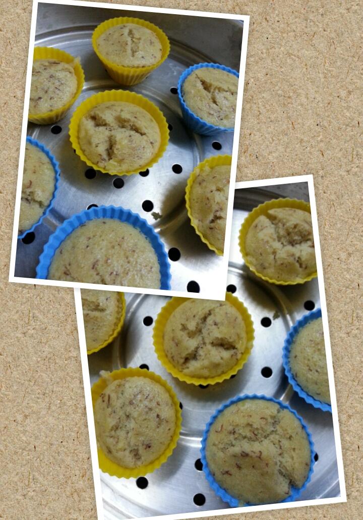 Steamed Eggless Banana Oatmeal Muffins