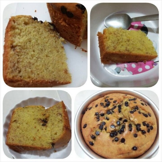 Banana chocolate chip sponge cake