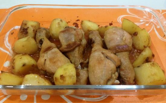 Roasted potato chicken drumsticks