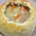 min shiang - chowder in bread